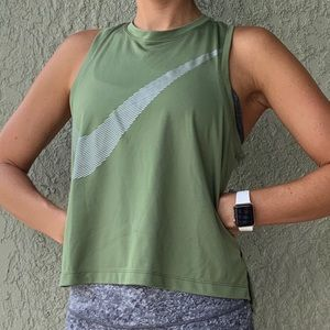 NIKE Dri-fit running muscle tank green medium